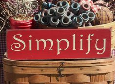 """Simplify painted wood sign 3.5"""" x 12"""" choice of color by SeedofMustardPrims on Etsy"""
