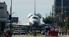 Space Shuttle Endeavor's final journey, traveling 12-miles from Los Angeles International Airport .