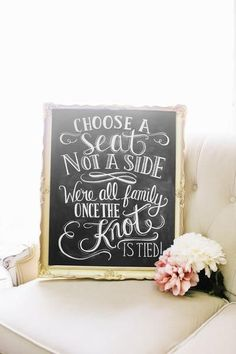 Choose a Seat Not a Side Chalkboard Print For Your Rustic Wedding Ceremony Decor