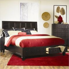 Magnussen Julian Island Bed with Footboard Storage in Antique Ebony - B1820-X1 - Lowest price online on all Magnussen Julian Island Bed with Footboard Storage in Antique Ebony - B1820-X1