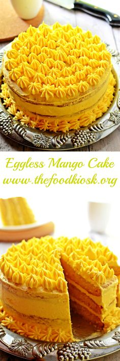 Moist and delicious eggless mango cake covered with mango flavoured buttercream and filled with mango custard. #mango #mangocake #egglesscake #egglessrecipes #mangodesserts #egglessmangocake #mangorecipes