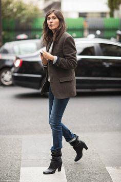 Emmanuelle Alt, tweed blazer, jeans, booties, Stockholm Streetstyle