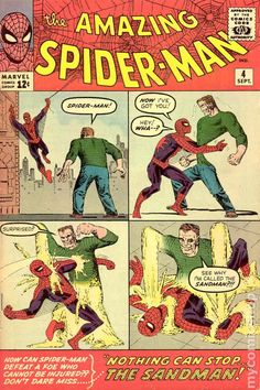 AMAZING SPIDER-MAN Published: September 1963 Added to Marvel Unlimited: November 2007 Penciller: Steve Ditko Spider-Man must contend with the villainous might of Sandman. But worst of all, Spidey has to deal with the dreaded. Amazing Spiderman, Amazing Spider Man Comic, Marvel Comic Books, Comic Book Characters, Comic Books Art, Marvel Art, Marvel Characters, Book Art, Univers Marvel