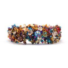 Magnetic Stone Caterpillar Bracelet Earth Multi - Lucias Imports (J)