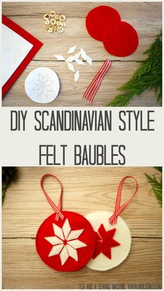 These diy Scandinavian style Christmas decorations are easy to make. All you need are some scraps of felt and ribbon! There's also a free template. Diy Christmas Baubles, Scandinavian Christmas Ornaments, Handmade Christmas Decorations, Nordic Christmas, Felt Decorations, Christmas Tables, Modern Christmas, Christmas Candle, Christmas Christmas
