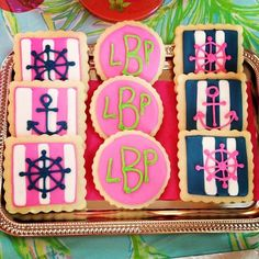 Monogram and striped cookies