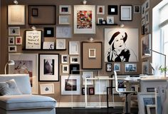 Gallery art wall Monochrome framed collection of sketches and art living modern