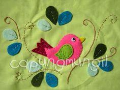 capungmungil campamento: DIY - Birdie Sweet Pink apliques de fieltro