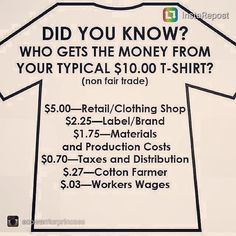 A handy and succinct ethical clothing infographic, demonstrating how little non fair trade workers get paid. Info Board, Ethical Clothing, Ethical Fashion, Clothing Swap, Eco Clothing, Clothing Accessories, Sustainable Clothing, Sustainable Fashion, Sustainable Living