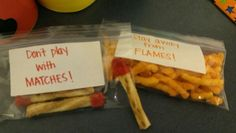 Preschool snack for fire safety theme. The matches are pretzels with pieces of fruit rolls on the end. The flames are cheetos.