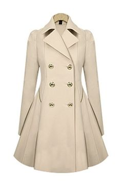 Apricot Double-Breasted Long Sleeves Trench Coat Outerwear