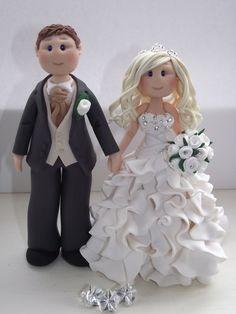 personalised bride and groom wedding cake by handmadecaketoppers, £75.00