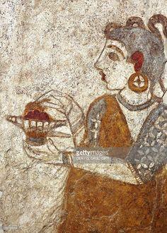 Stockillustraties : fresco depicting priestess burning incense, from Akrotiri, Thera Island, Santorini, Greece