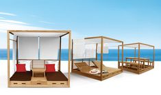 outdoor wooden furniture | the 'summer cabana' can function as either a sun bed or dining set