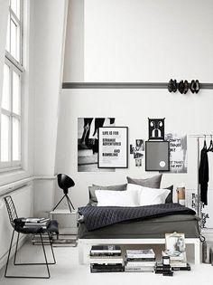 "grey bedrooms / the style files - i love the heels on the wall. i totally have my heels displayed ""creatively"" in my room.. if only i had high ceilings.. swoon"