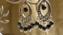 Snowflake Obsidian Earrings  Black snowflake obsidian stones with silver accents adorn this diamond shape earring base. Measures approx. 2 inches in length. Hand made, brand new - never worn.A great addition to any jewelry box! Great item for dres...