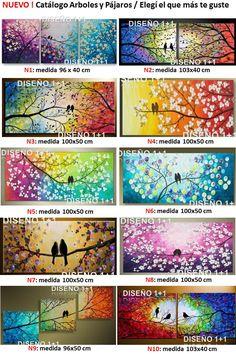 Cuadros Tripticos Arbol De La Vida Y Pajaros Pintados A Mano - $ 1.200,00