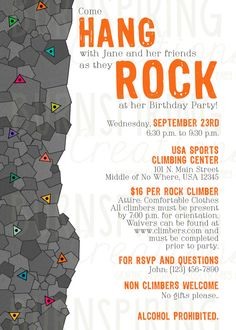 Custom Photo Rock Wall Birthday Invitation To be A well and A photo
