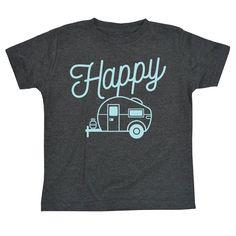 Here's a cool camping idea. Camping shirts for the kids on your next trip! Happy Camper Toddler Tee. #happycamper #campingshirts #camping