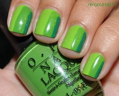 Base: Modes Own Lime GreenStripes: OPI Greenwich Village + Jade is the New black