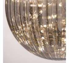 Dekoracyjna Lampa wisząca EVO P01901CH szklana OPRAWA plisowana LED 12W kula ball IP20 chrom dymna