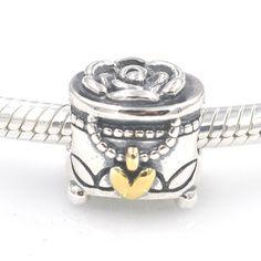 Portagioie con cuore d'oro e fiori carm bead 100% argento 925 adatta misure Pandora charm Pandora bead Braccialetto europeo LW583 di OceanBijoux su Etsy