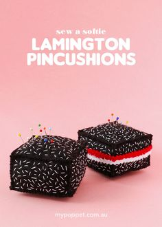 Sew a Softie: Lamington Pincushions Crafts For Teens, Crafts To Make, Diy Crafts, Sewing Projects For Kids, Craft Projects, Cake Dip, Paper Pin, Felt Squares