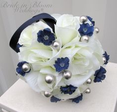 Wedding flower balls pomander silver gray navy blue ivory Wedding decorations Ceremony Aisle pew markers. $22.00, via Etsy.