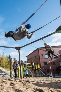 School yard in Finland offers its students many sport arenas, play equipment and swings for example. Play Equipment, Children's Place, Swings, Finland, Yards, Students, Around The Worlds, Sport, School