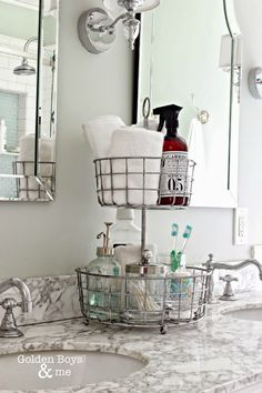 Keep the counter tops clear and place it all in one spot like this tiered organizer idea,. Bathroom Storage Ideas for Small Spaces; solutions for your everyday family. Bathroom Hacks and Tricks you wish you knew yesterday.