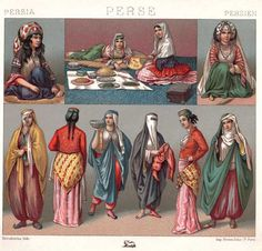 Historic costumes and head wear. Brighter colors and is very simple like an everyday look.
