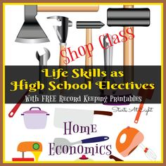 Life Skills as High School Electives: Home Economics & Shop Class from Starts At Eight. Teaching your kids life skills is a great way to learn and earn high school credit! Economics Lessons, Home Economics, Home Schooling, Homeschool High School, Homeschool Curriculum, Online Homeschooling, High School Subjects, High School Credits, Life Skills Lessons