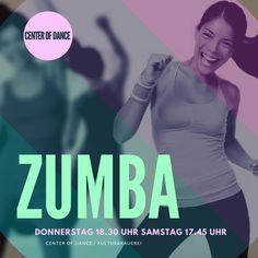 Zumba mit Yookie  Donnerstag 18.30 Uhr  Studio B Samstag 17.45 Uhr  Studio A  Probestunde 8 Euro  www.centerofdance.net