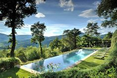 "gorgeous infinity pool at my historic Italian villa....""Castello di Reschio is a very private estate that covers 2,700 acres of Umbrian countryside on the border with Tuscany, Italy"""