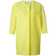 Tsumori Chisato Perforated Coat (£485) ❤ liked on Polyvore featuring outerwear, coats, tsumori chisato и yellow coat