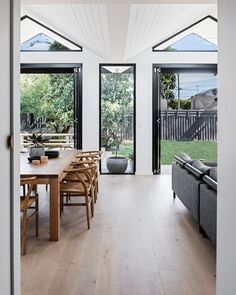 With a folded roof form and charred timber cladding, Pleated House has plenty of flair for its design-conscious owners. Living Area, Living Spaces, Living Rooms, Steel Doors And Windows, Weatherboard House, Interior And Exterior, Interior Design, Exterior Paint, Clerestory Windows