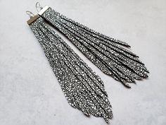 Black and white extra long tassel earrings black white | Etsy