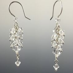 Swarovski Crystal & Sterling Silver Cluster Earrings
