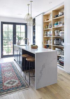 Transitional Kitchen in Riverdale Toronto — designstrom Open Plan Kitchen Living Room, Condo Kitchen, Kitchen Flooring, Kitchen Remodel, Kitchen Decor, Ikea Kitchen Pantry, Kitchen Ideas, Dining Room, Narrow Kitchen Island