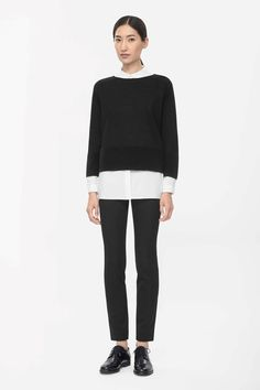 Made from fine merino wool, this jumper has a ripple stitched panel around the hem and cuffs for a modern rib effect. Slightly cropped, it has a wide round neckline and loose sleeves. Contemporary Style, Modern, Cardigans For Women, Fashion Brand, Knitwear, Jumper, Normcore, Turtle Neck, Casual