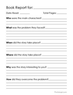 Printable Book Repor
