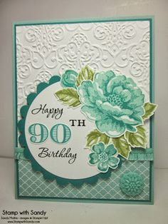 Stamp With Sandy: Stippled Blossoms 90th Birthday for The Paper Players