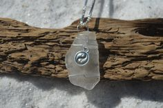 Genuine Frosted Sea Glass Necklace with a Silver Yin Yang Charm on a Sterling Silver Box Chain
