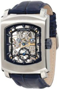 Stuhrling Original Men's 317.3315C6 Classic Metropolis Midtown Banker Mechanical Skeleton Blue Watch Stuhrling Original. $189.00. Skeleton dial with applied baton style markers and seconds subdial with luminous filled tips on hour, minute and second hand. Water-resistant to 50 M (165 feet). Polished stainless steel rectangular case with brush finished bezel and blue ip crown. Blue alligator embossed genuine french leather strap with silvertone buckle. Protective kryste...