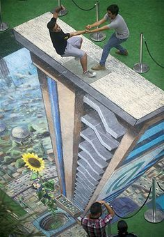 Street art, optical illusion