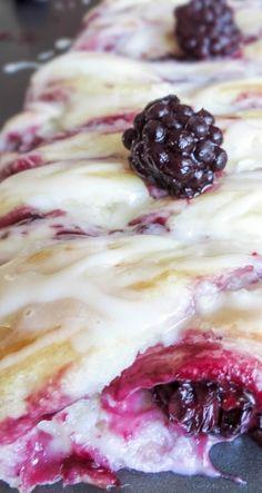 Vanilla Glazed Blackberry Cheese Danish Braid