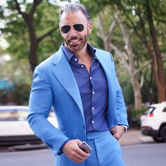 2018 Tailored Light Blue Suit Men Groom Tuxedo Slim Fit 2 Piece Blazer Prom Wedding Suits For Men Terno Masculino Jacket+Pant Light Blue Suit, Blue Suit Men, Blue Suit Wedding, Wedding Suits, Dapper Gentleman, Gentleman Style, Casual Work Wear, Men Casual, Mens Fashion Suits