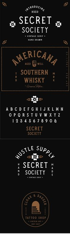 Secret Society is a handcrafted Southern inspired Spur Serif all caps font family.