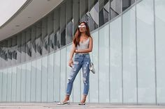 Hot Looks, by Hype + Newness Ripped Jeans, Mom Jeans, H&m Shoes, People Around The World, Style Inspiration, Denim, Grey, Casual Chic, Hot