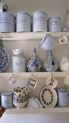 ♥ ~ ♥ Blue and White ♥ ~ ♥ Emma Bridgewater Collection blue canisters Blue And White China, Blue China, Love Blue, Emma Bridgewater, White Cottage, Delft, White Decor, Chinoiserie, White Porcelain